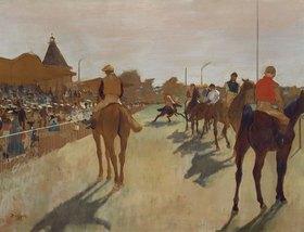 Edgar Degas: Vor dem Rennen. Rennpferde beim Défilé vor den Tribünen. Gegen