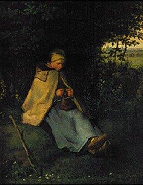 Jean-François Millet: Strickendes Hirtenmädchen(La Tricoteuse)