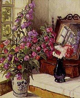 Wilfred Glud: Stilleben mit Fingerhut und Rosen auf einer Frisierkommode