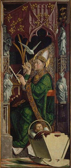Michael Pacher: Kirchenväteraltar. Um 1480. Rechter Flügel Innenseite, der hl. Ambrosius