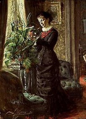 Anders Leonard Zorn: Frau Lisen Samson beim Arrangieren von Blumen vor einem Fenster