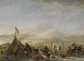 Philips Wouwerman: Winterlandschaft mit Eisbahn