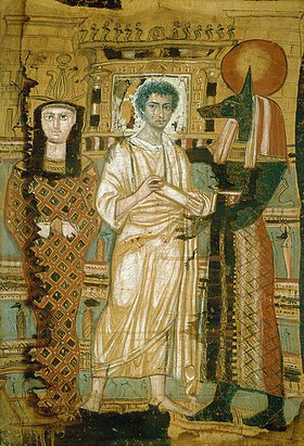 Ägyptisch: Jüngling im Totengewand. Links seine Mumie als Osiris, rechts Gott Anubis