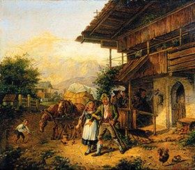 Lorenzo Quaglio d.J.: Bauernpaar vor einer Schänke