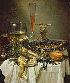 Pieter Claesz.: Frühstücksstilleben mit Fisch