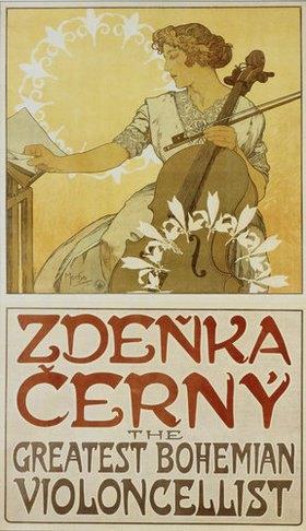 Alfons Mucha: Plakat Zdenka Cerny - The Greatest Bohemian Violoncellist