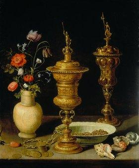 Clara Peeters: Stilleben mit Blumen und Pokalen