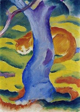 Franz Marc: Katze hinter einem Ba