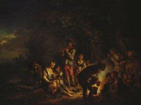 Johann Conrad Seekatz: Fahrendes Volk am Feuer bei Nacht