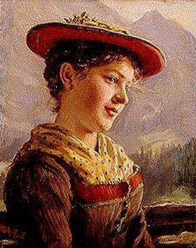 Karl Emil Rau: Dirndl in Tracht und mit rotem Hut
