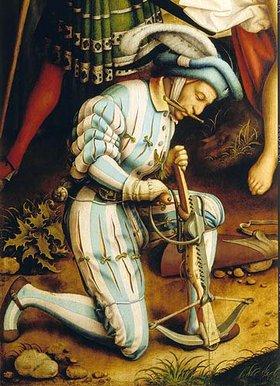 Hans Holbein d.Ä.: Sebastiansaltar. Martyrium des heiligen Sebastian. Detail Armbrustschütze