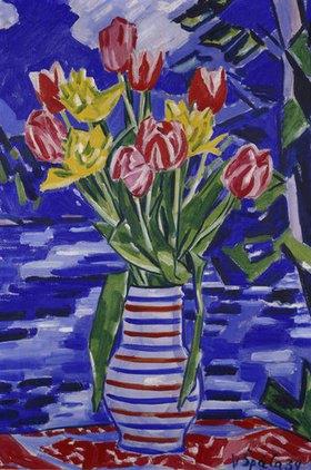 Václav Spála: Tulpen in Vase vor Landschaft