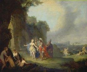Johann Heinrich Tischbein: Dido und Aeneas flüchten vor dem Gewitter in eine Höhle