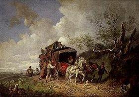 Heinrich Bürkel: Stellwagen auf einer Landstrasse im Voralpenland