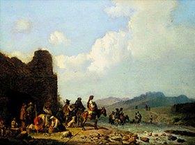 Heinrich Bürkel: Campagna-Landschaft mit ziehenden Landleuten vor einer Ruine