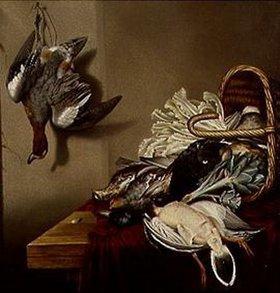 Jacobus Biltius: Stilleben mit Gemüsekorb und gerupfter Ente