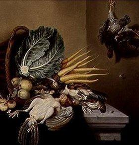 Jacobus Biltius: Stilleben mit Gemüse und Früchten im Korb