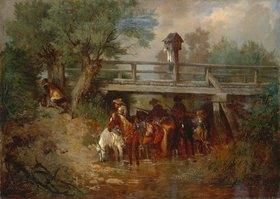 Wilhelm von Diez: Berittene Soldaten im 30-jährigen Krieg unter einer Brücke