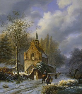 Barend Cornelisz Koekkoek: Winterlandschaft an einer Kirche