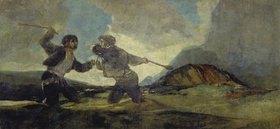 Francisco José de Goya: Duell mit Knüppeln. (Aus den schwarzen Bildern der Quinta del Sordo)