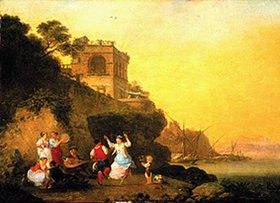 Jean-Baptiste Hilaire: Tarantella tanzendes Landvolk an der Küste bei Marechiaro