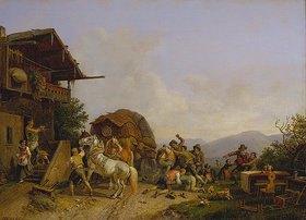 Heinrich Bürkel: Rauferei vor einer Schenke