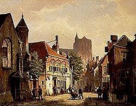 Willem Koekkoek: Strassen-Szene in Rotterdam mit der St.Laurens-Kirche