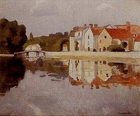 Albert Marquet: Häuser spiegeln sich im Wasser (Samois)
