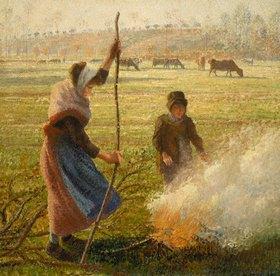 Camille Pissarro: Bauersfrau beim Verbrennen von Ästen