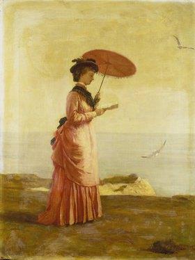 Valentine Cameron Prinsep: Frau mit Sonnenschirm am Strand der Insel Wight, ein Buch lesend (Emily Prinsep)