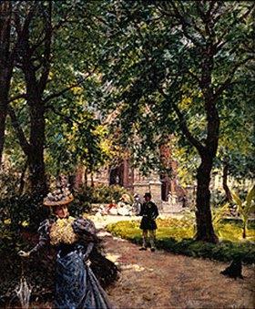 Louis Beroud: In den Grünanlagen der Place Sainte Clothilde in Paris