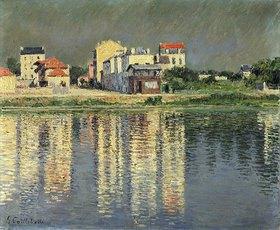 Gustave Caillebotte: Häuser spiegeln sich im Wasser der Seine bei Argenteuil