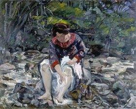 Lovis Corinth: Mädchen im Waldbach (Charlotte Corinth)