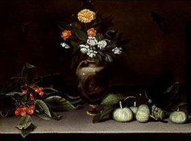 Umkreis Caravaggio: Vase mit Blumen, Kirschen, Feigen und zwei Schmetterlingen