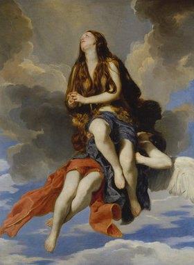Guido (gen.Cagnacci) Canlassi: Hl.Maria Ägyptiaca von Engeln getragen. Lwd., 195 x 144 cm
