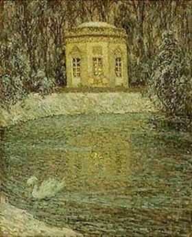 Henri Le Sidaner: Der Musikpavillon von Versailles im Schnee