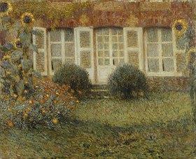 Henri Le Sidaner: Gartenhaus und Sonnenblumen
