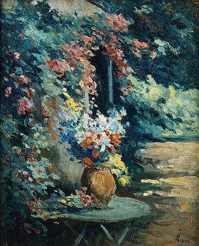 Maximilien Luce: Blumenstilleben auf einem Gartentisch