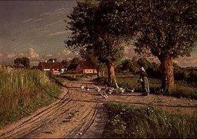 Peder Moensted: Bäuerin mit Gänsen auf dem abendlichen Heimweg