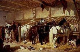John Frederick Herring d.Ä.: Gespannpferde im Stall