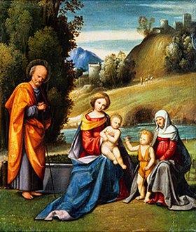 Garofalo (eigtlich Benvenuto Tisi): Die hl.Familie mit Elisabeth und dem Johannesknaben an einem Fluss-Ufer