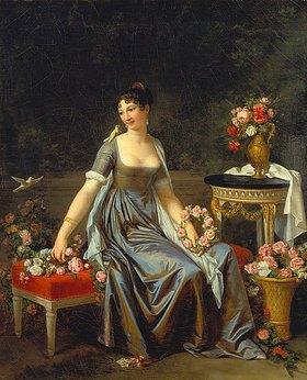 Marguerite Gérard: Bildnis einer Dame, umgeben von Blumen und Vögeln