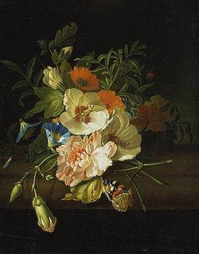 Rachel Ruysch: Blumenstilleben mit Schmetterlingen auf einer Steinbank
