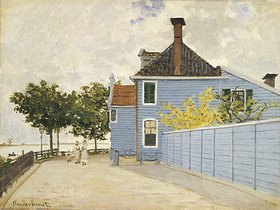Claude Monet: The Blue House, Zaandam. La Maison Bleue, Zaandam.  Claude Monet (1840-1926).  Oil On Canvas