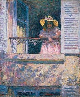 Henri Lebasque: Junges Mädchen mit Sonnenhut am Fenster