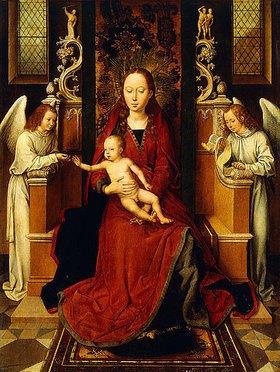 Hans Memling: Madonna mit dem Kinde auf dem Thron, mit zwei Engeln