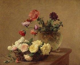 Henri de Fantin-Latour: Blumen in Glasvase und Korb mit Rosen