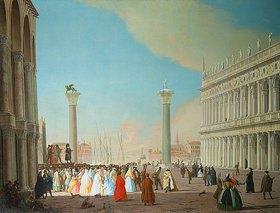 Luca Carlevarijs: Venedig, Markusplatz mit festlicher Menschenmenge beim Betrachten einer Commedia dell'Arte Aufführung