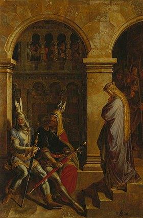 Julius Schnorr von Carolsfeld: Hagen und Volker verweigern Kriemhild den Gruß