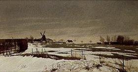 Lauritz Andersen Ring: Spätwinterlandschaft mit Windmühle